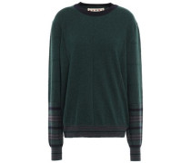 Striped Cashmere And Wool-blend Sweater Dark Green