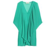 Draped Plissé-chiffon Mini Dress Jade
