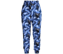 Shirred printed track pants