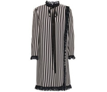 Pussy-bow Ruffled Lace-trimmed Striped Crepe Mini Dress Black Size 0