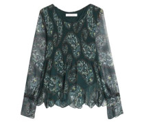 Cutout floral-print plissé-gauze blouse