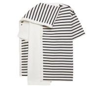 Woman Draped Striped Cotton-jersey Top Cream