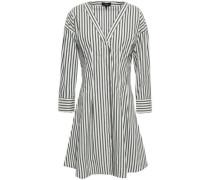 Striped Cotton-blend Poplin Mini Dress Charcoal