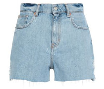 Distressed Denim Shorts Light Denim  6