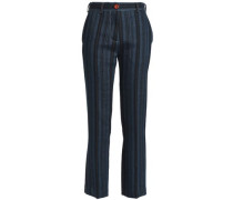 Striped wool, linen and cotton-blend straight-leg pants