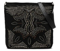 Studded Suede Shoulder Bag Black Size --