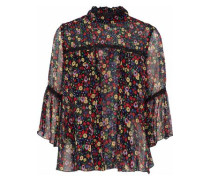 Guipure lace-trimmed floral-print silk-georgette top