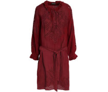 Belted broderie anglaise cotton dress