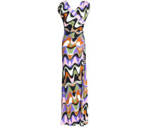 Wrap-effect printed stretch-jersey gown