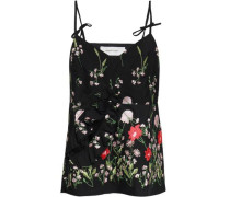 Ruffle-trimmed Cutout Embroidered Cotton-blend Camisole Black