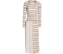 Striped ribbed cotton-blend midi dress