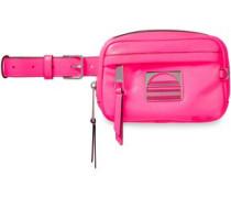 Woman Embellished Cracked-leather Belt Bag Bright Pink