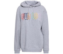 Embroidered Mélange French Cotton-terry Hooded Sweatshirt Gray