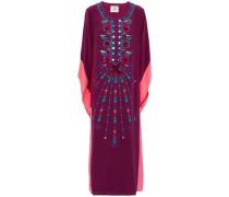 Embellished silk crepe de chine kaftan