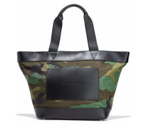 Leather-paneled printed canvas tote
