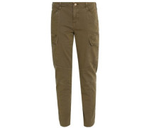 Zip-detailed cotton-blend slim-leg pants