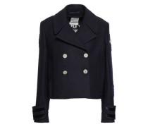 Appliquéd Double-breasted Wool-felt Jacket Navy
