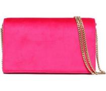 Leather-paneled velvet shoulder bag