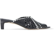 Woven Leather Mules Black