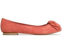 Knotted suede ballet flats