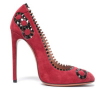Laser-cut Patent Leather-trimmed Suede Pumps Crimson