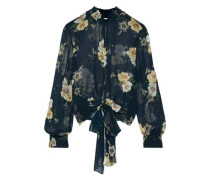 Tie-front Floral-print Shirred Silk-chiffon Blouse Petrol Size 0
