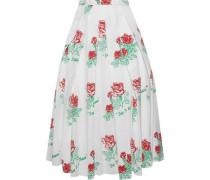 Pleated Printed Cotton-blend Poplin Midi Skirt White