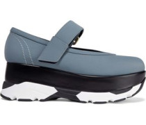 Leather-trimmed Neoprene Platform Sneakers Anthracite