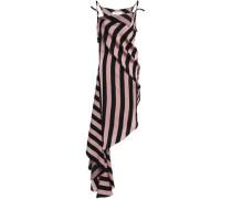 Asymmetric Striped Twill Dress Antique Rose