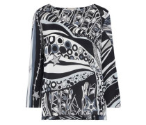 Woman Printed Silk Crepe De Chine Top Black