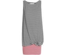Layered striped stretch-jersey mini dress