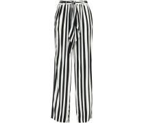 Striped Silk Crepe De Chine Wide-leg Pants Black