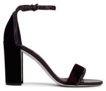 Crystal-embellished Satin-trimmed Velvet Sandals Dark Purple