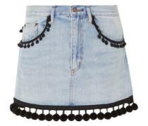 Pompom-embellished Denim Mini Skirt Light Denim  6