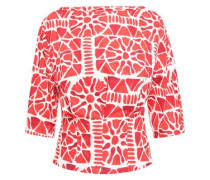 Printed Cotton-poplin Top Red