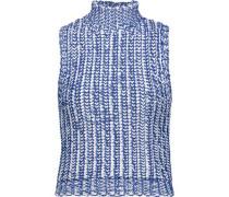 Tomi cable-knit cotton-blend turtleneck top