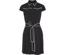 Yoko Pleated Crepe Mini Shirt Dress Black