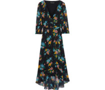 Woman Wrap-effect Floral-print Chiffon Midi Dress Black