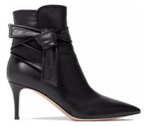 Knotted Leather Ankle Boots Black