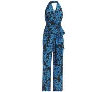 Belted printed silk halterneck jumpsuit