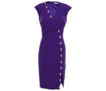 Wrap-effect Embellished Cady Mini Dress Purple