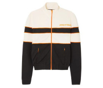 Striped Velvet-trimmed Jersey Jacket Ivory Size 12