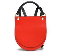 Two-tone Leather Backpack Tomato Red Size --