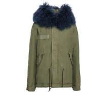 Shearling-trimmed Cotton-blend Gabardine Hooded Coat Blue