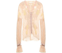 Ring-embellished Faux Suede-trimmed Corded Lace Blouse Peach