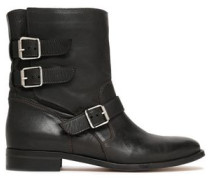 Buckle-detailed leather ankle boots
