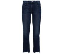 Woman Frayed High-rise Straight-leg Jeans Dark Denim