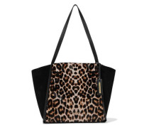 Alan Leopard-print Calf Hair, Suede And Textured-leather Tote Animal Print Size --