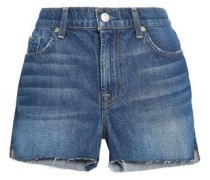 Frayed High-rise Denim Shorts Mid Denim