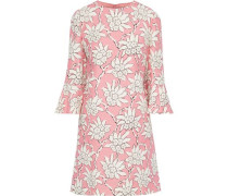 Woman Floral-print Wool And Silk-blend Cady Mini Dress Baby Pink